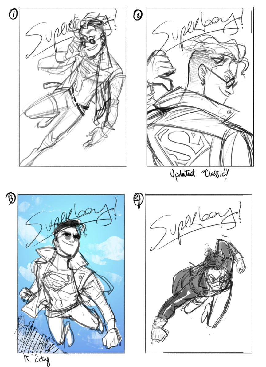 Superboy Variant Cover Sketches